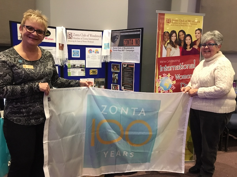 District 4 Flag Held by D4 Area Director & Zonta Woodstock President