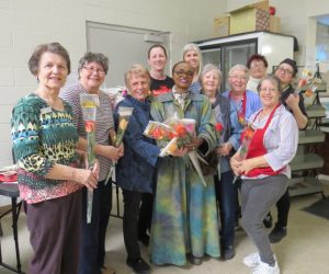 Woodstock Zonta Member Delivers Roses to Southgate
