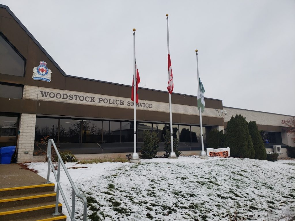 Woodstock Lowers Flags to Half-mast on Dec. 6hth
