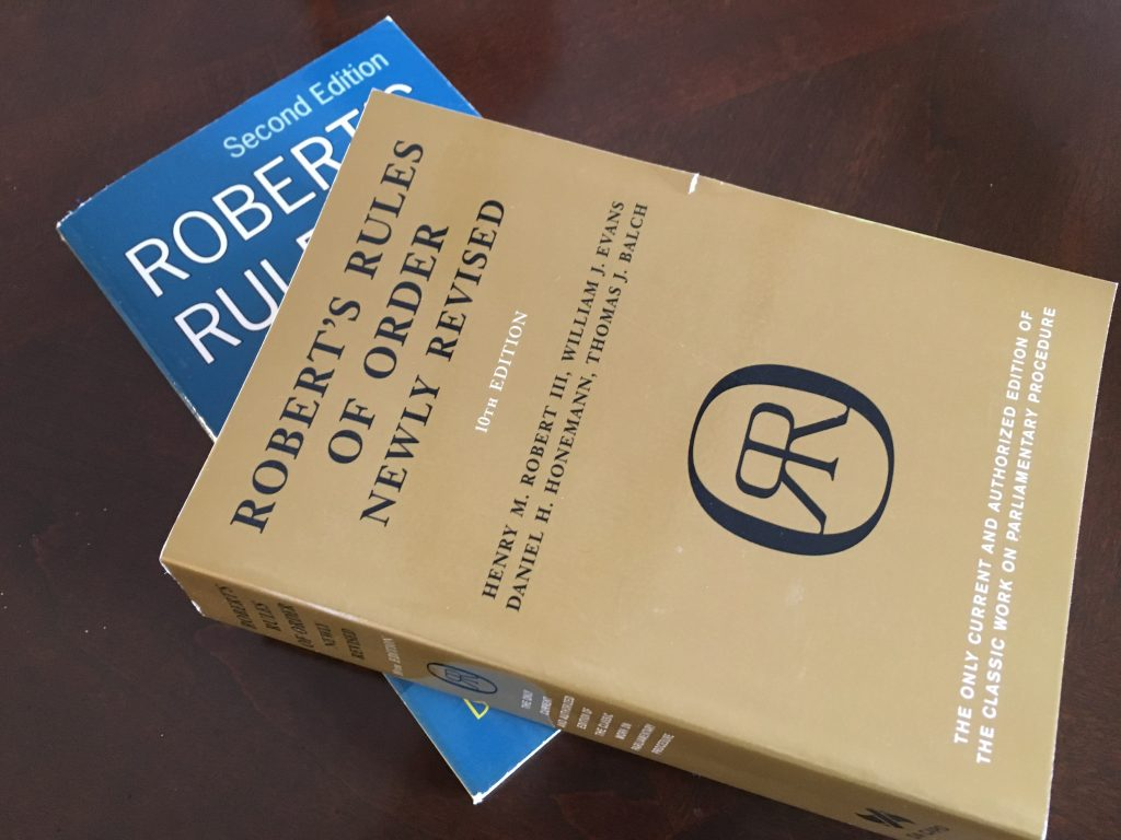 Robert's Rules Books Always at Hand