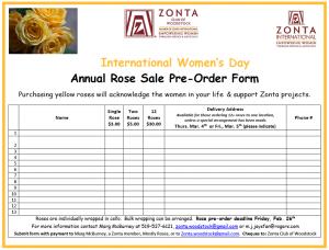 Woodstock Zonta Rose Sale Pre-order Form
